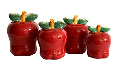 Merveilleux Set Of 4 Apple Shaped Red Ceramic CANISTERS Country Kitchen Home Decor NEW