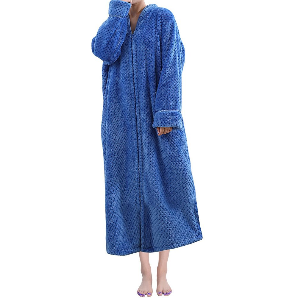 ONAMANO Women's Fleece Robe Full Length Long Sleeve Fluffy Plain Zip Front Bathrobe