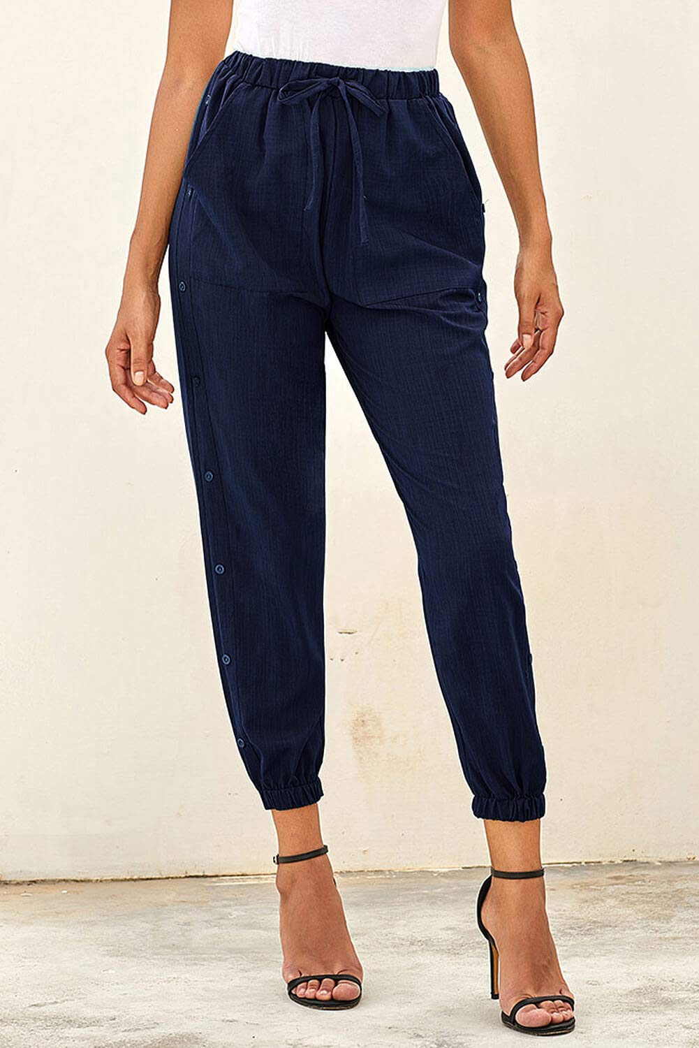 NEWFANGLE Women\'s Linen Casual Pants Drawstring Elastic Waist with Pockets Solid Comfy Loose Fit Trousers,Navy Blue,M