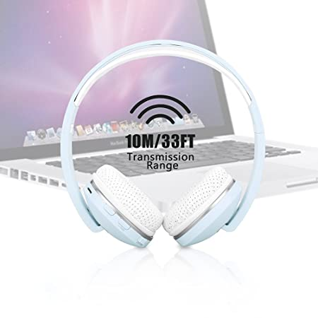 EWTTO Foldable Wireless Over-Ear Headphone, Noise Cancelling and Stereo Sound Headset with Built-In Mic
