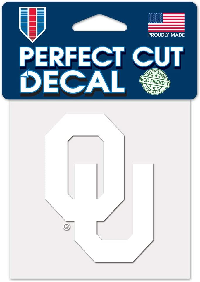 WinCraft NCAA Oklahoma Sooners 4x4 Perfect Cut White Decal, One Size, Team Color