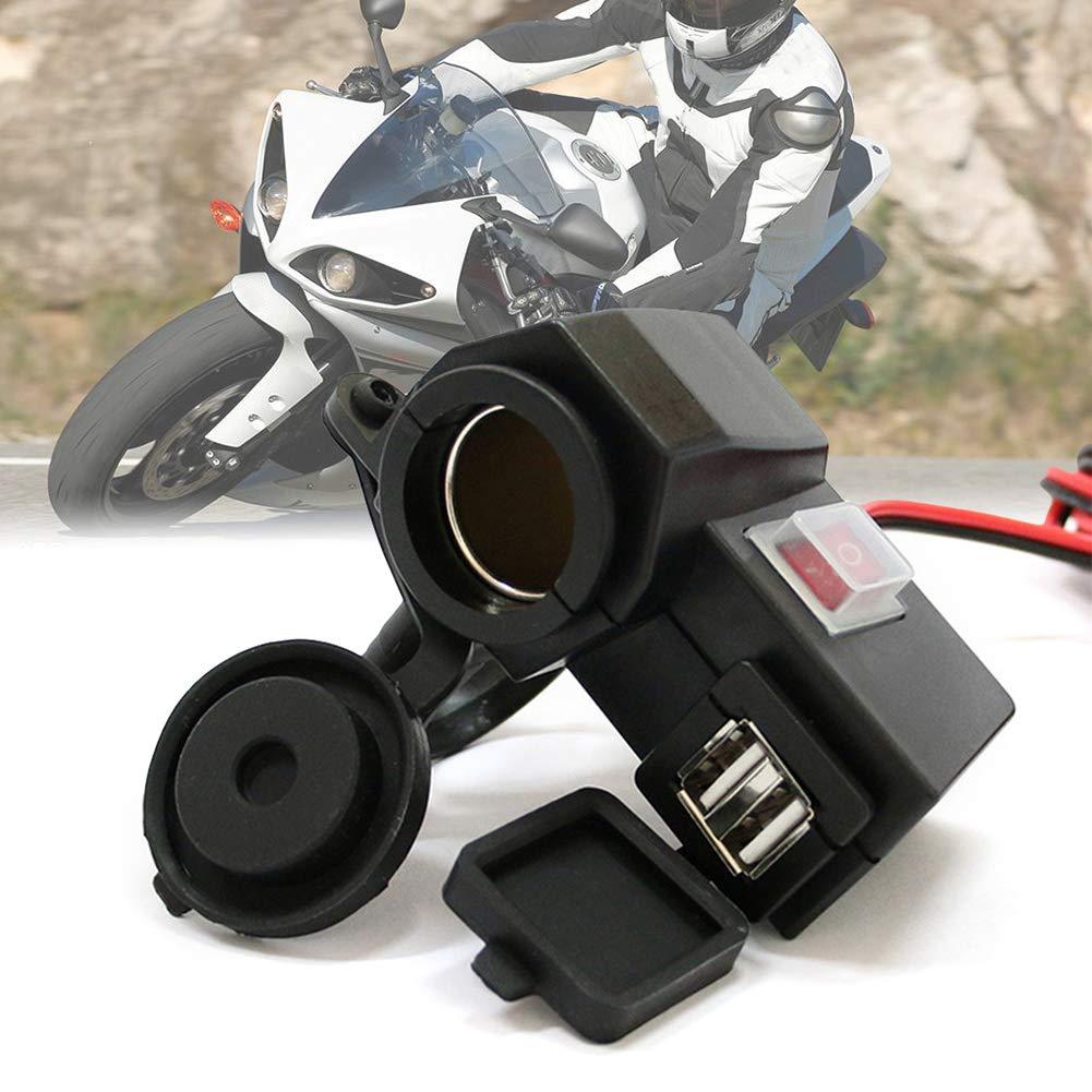 Denret3rgu Adaptador de Corriente del Divisor del Encendedor del Encendedor de Cigarrillos de la Motocicleta Cargador USB Dual