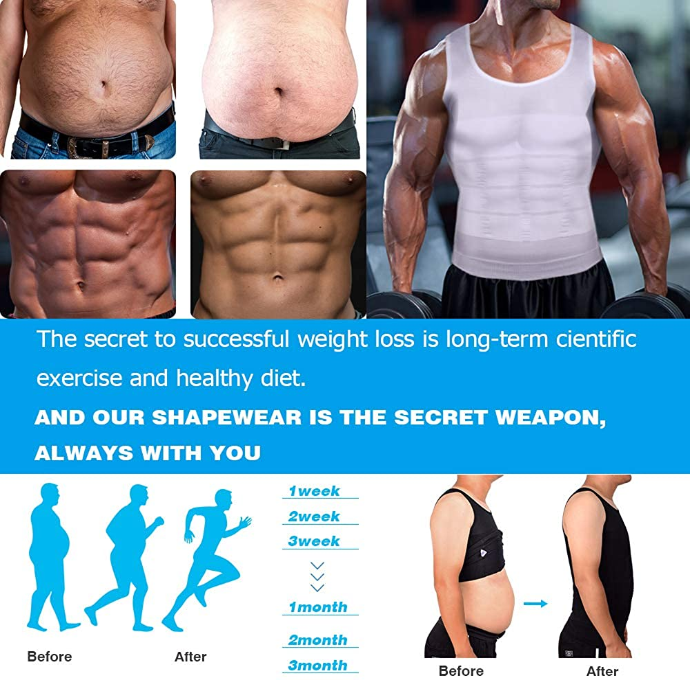 KOCLES Mens Compression Tank Top Slimming Body Shaper Vest Shirts Abs Slim Gym