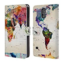 Official Mark Ashkenazi Map Of The World Pop Culture Leather Book Wallet Case Cover For Samsung Galaxy S5 / S5 Neo