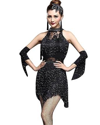 c1d63ac20274c NiSeng Femme Jupe Danse Latine Houppe Sequin Latine Robe Performance Costume  Tenue Danse Latine  Amazon.fr  Vêtements et accessoires
