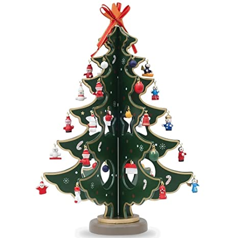 125 wooden tabletop christmas tree with 32 miniature christmas ornaments - Miniature Christmas Tree