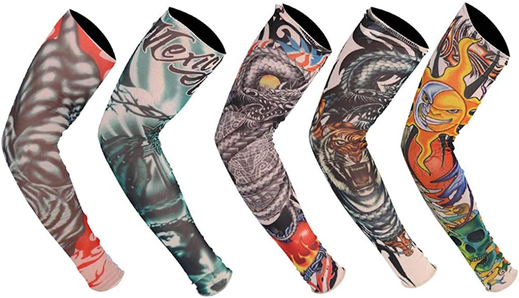5PCS Unisex UV Protection Tattoo Cooling Arm Sleeves,UPF 50 Sun Cover Shield for Elbow Brace Cycling Sports Ball Sports