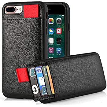 """iPhone 7 Plus Wallet Case, iPhone 8 Plus Wallet Case, LAMEEKU Protective iPhone 8 Plus Card Holder Case with Credit Card Slot, Leather Cover for Apple iPhone 7 Plus/ 8 Plus 5.5"""" Black"""