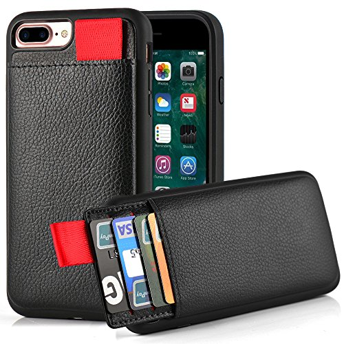 iPhone 7 Plus Wallet Case, iPhone 8 Plus Wallet Case, LAMEEKU Protective iPhone 8 Plus Card Holder Case with Credit Card Slot, Leather Cover for Apple iPhone 7 Plus/ 8 Plus 5.5