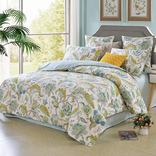 Softta Luxury European Floral Leaves Bedding Green Queen 3 Pcs Baroque Duvet Cover Set 100% Egyptian Cotton 800 Thread Count Blue Yellow Super Soft Hypoallergenic (Yellow Comforter Blue And)