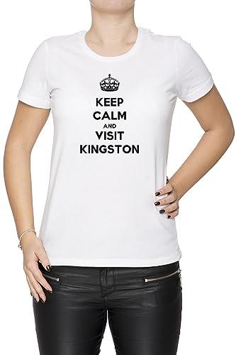 Keep Calm And Visit Kingston Mujer Camiseta Cuello Redondo Blanco Manga Corta Todos Los Tamaños Wome...