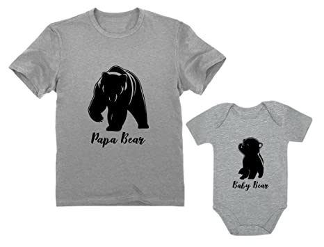 d539bb99 Papa & Baby Bear Men's T-Shirt & Baby Bodysuit Outfit Father & Son Matching