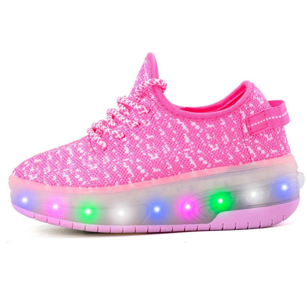 edv0d2v266 USB Charging LED Light up Roller Skate Shoes Double Wheel Flashing Sneakers for Boys Girls Kids(Pink 2 Wheel 1 M US Little Kid)