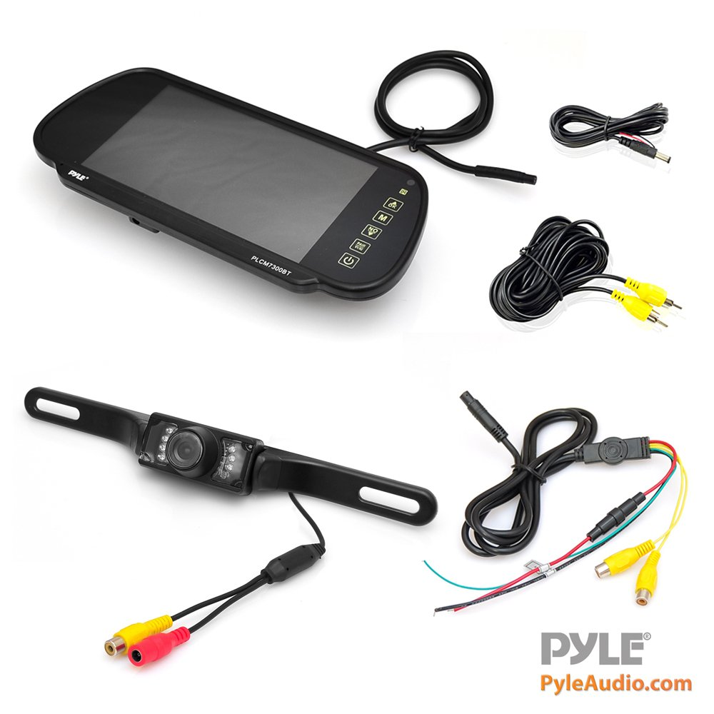 Pyle Backup Car Camera & Rear View Mirror Monitor Screen System-Parking & Reverse Safety Distance Scale Lines, Waterproof & Night Vision Cam with IR LED Lights, 7'' LCD Display for Vehicles-(PLCM7200) by Pyle (Image #1)