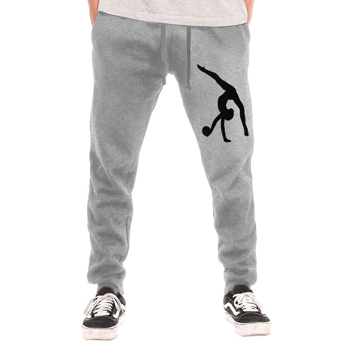 Mens Jogger Sweatpants Rhythmic Gymnastics Silhouette Casual Stretch Cotton Jersey Pant