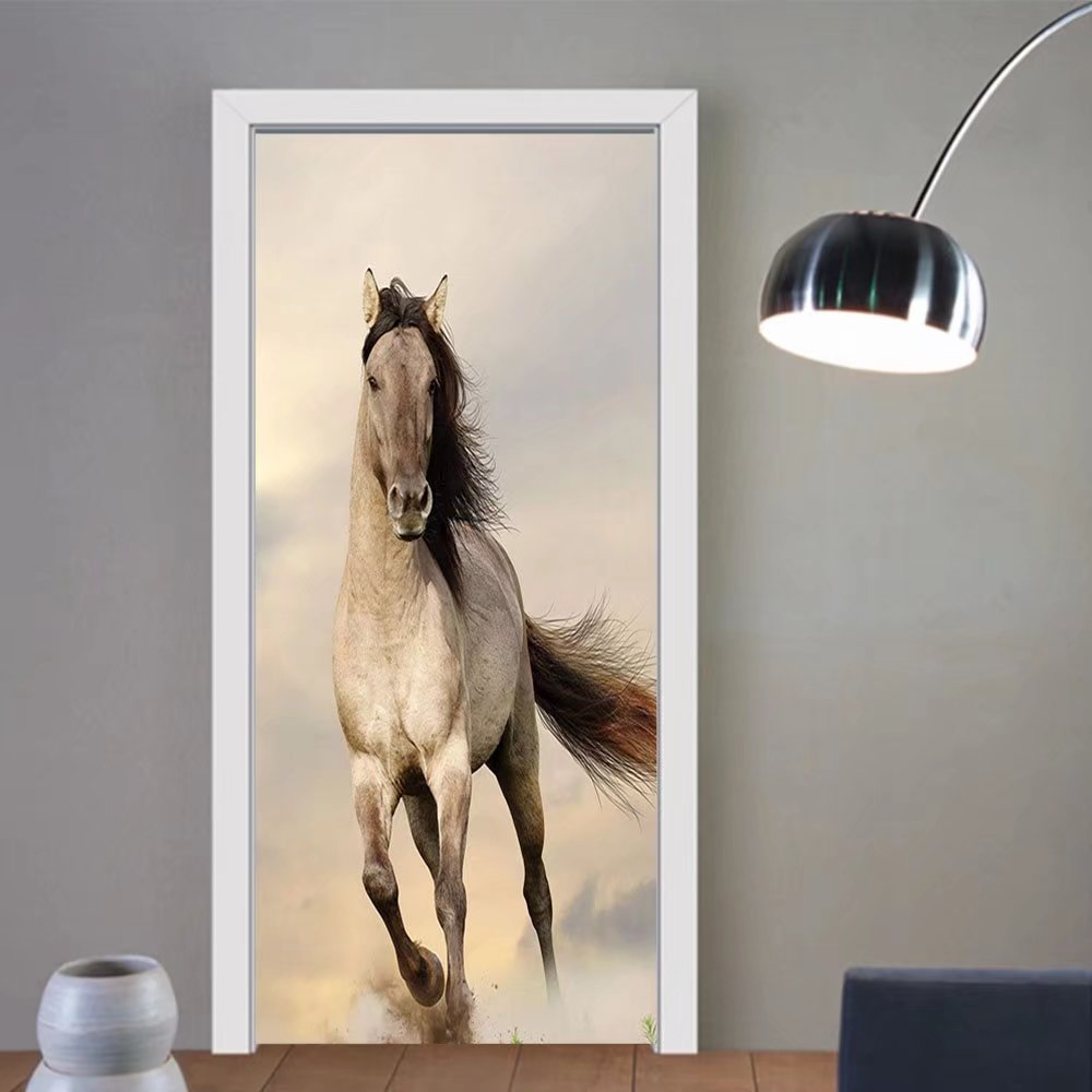Gzhihine custom made 3d door stickers Animal Decor Collection Wild Young Stallion Horse Running at Sunset Male Power Nake Muscular Physique Nobility Photo Biege For Room Decor 30x79