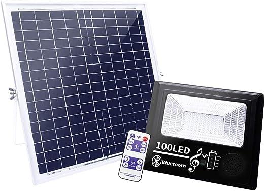 100 LED Foco Solar Exterior, Luz Solar Jardín con Control Remoto y Altavoz Bluetooth, 4 Modos Regulable Luz, Blanco Frío 3000LM, IP67 Impermeable Proyector LED Solar para Patio, Terraza, Garaje: Amazon.es: Iluminación