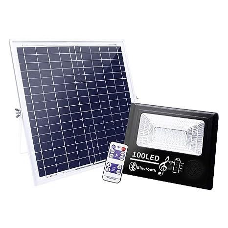 100 LED Foco Solar Exterior, Luz Solar Jardín con Control Remoto y ...