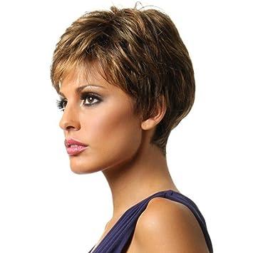Nueva moda peluca corta del pelo ondulado pelucas sintéticas a prueba de calor para las mujeres