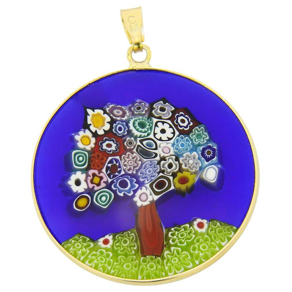 glassofvenice cristal de Murano Millefiori colgante /Árbol de la vida en oro marco 1