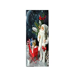 ZY-KL 3D Christmas Door Wallpaper Decoration Santa Claus Door Mural Snowman Door Stickers, Christmas Gifts, PVC Environmentally Friendly self-Adhesive Home Decoration Christmas Party (MT0105)