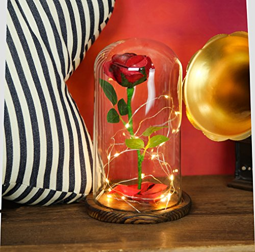 Beauty-and-the-Beast-Everlasting-Red-Rose-Flower-Led-Light-with-Fallen-Petals-in-a-Glass-Dome-on-a-Wooden-Base