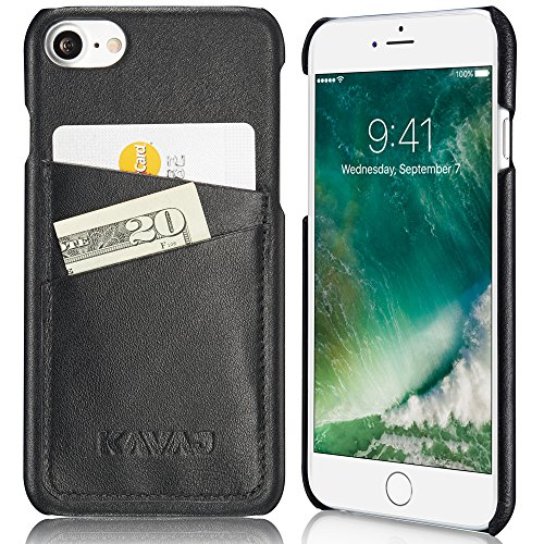 KAVAJ iPhone 8 iPhone 7 Case Leather Tokyo Black Slim-Fit Genuine Leather iPhone 8 Wallet Case Leather iPhone 8 Bumper Case with Business Card Holder Cover for Apple iPhone8
