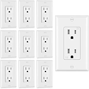 (10 Pack) CML Decor Receptacle Outlet with Wallplate, Tamper Resistant, 15A/125, 3-YearWarranty, UL Listed, White