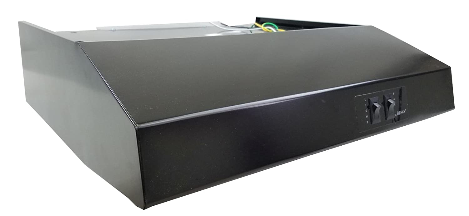 24' Black Rear Ducted RV Range Hood (12 Volt DC) Hengs
