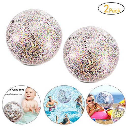 - Onene 2 Pieces Glitter Beach Ball, 16 inch Confetti Beach Balls, Inflatable Pool Ball Party Ball for Summer Party and Water Play Toy, Also Can Be Used as Photo Props