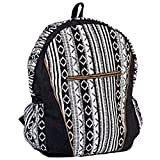 Unisex Cotton Geometric Hippie Backpack | Black and White Casual Daypack BookBag