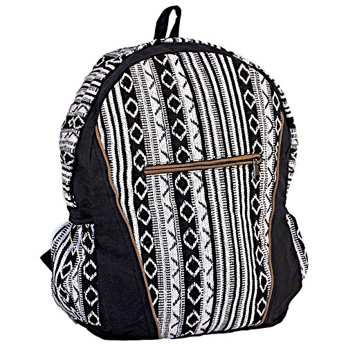 Unisex Cotton Geometric Hippie Backpack | Black and White Casual Daypack BookBag by Dominion (Image #2)