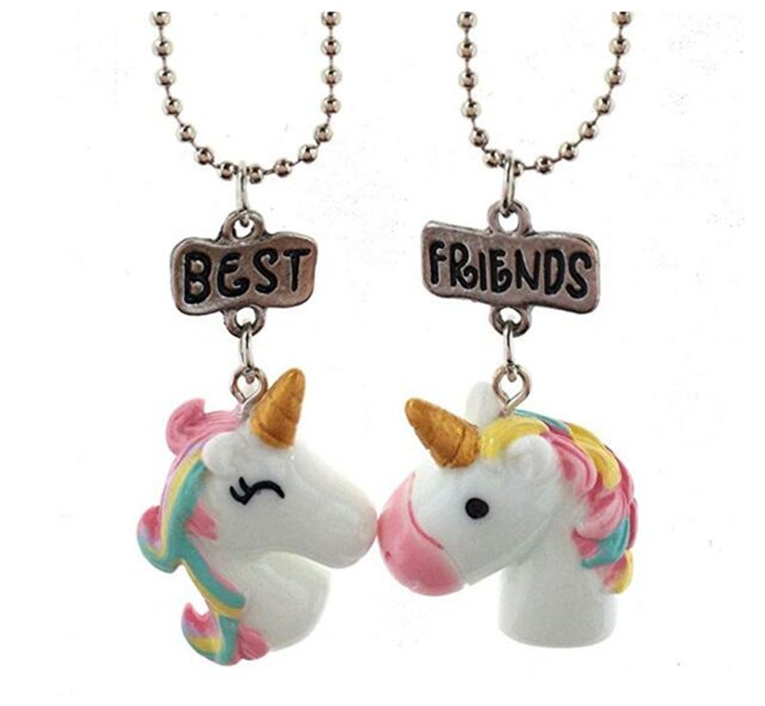 Tmrow Best Friends Colorful Unicorn Friendship Necklaces Set for 2 Kid Girls