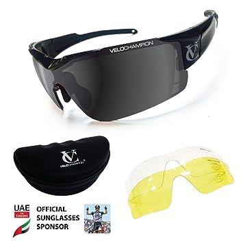 VeloChampion Vortex balística marco negro, ahumado/amarillo/transparente espejada libre caso