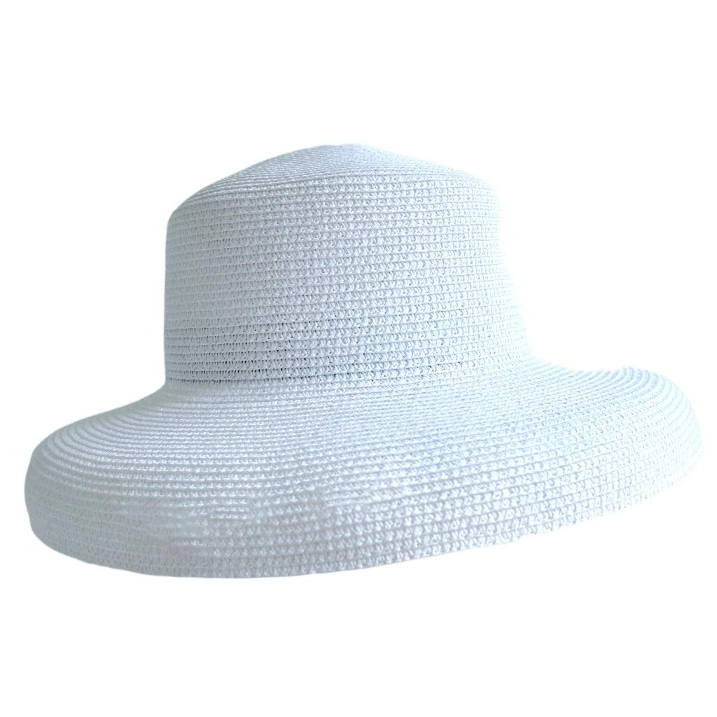 1950s Women's Hat Styles & History JXLBB White High Cold Retro Lampshade Straw Hat Female Big Hat Foldable Beach Sunhat $42.06 AT vintagedancer.com