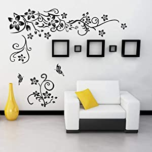 Supzone Flowers Vine Wall Decals Black Flowers Wall Stickers Butterfly Wall Decor Removable Vinyl DIY Home Wall Art Stickers for Bedroom Living Room Sofa Backdrop TV Wall Decoration