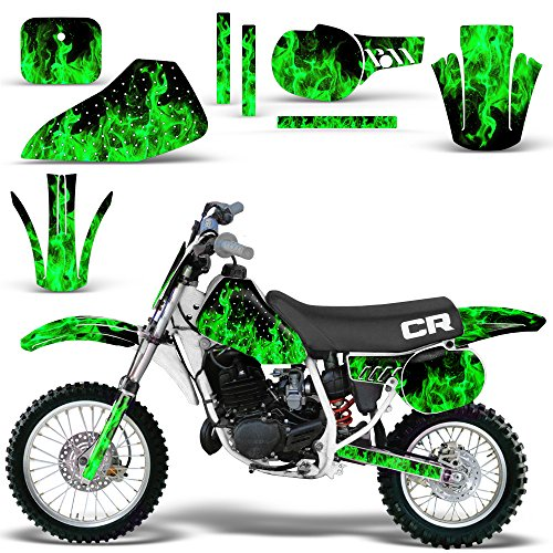 Honda CR 60 R 1984-1985 Graphic Kit MX Stickers Dirt Pit Bike Decals CR60 FLAMES GREEN - Custom Pit Bike Graphics Kit