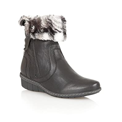 9ba3777cbeb94 LOTUS Womens ITM129154 Fur Lined Ankle Boot with Fur Collar Trim 7 ...