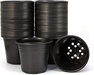 JERIA 50-Pack 0.5 Gallon Plastic Plant Nursery Pots, Seed Starting Pot Flower Plant Container