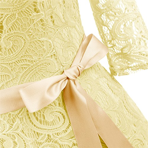 3 Dresses Neck Bridesmaid V Lace Midi Yellow Elegant Dress Slim Wedding Dressystar 4 Sleeve Guest Waist qIvRw0E