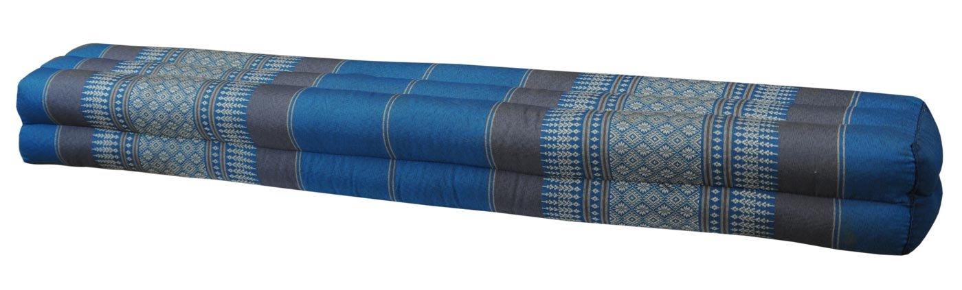 Thai cushion bolster , pillow, sofa, imported from Thaïland, blue/grey, relaxation, beach, pool, meditation garden (82611)