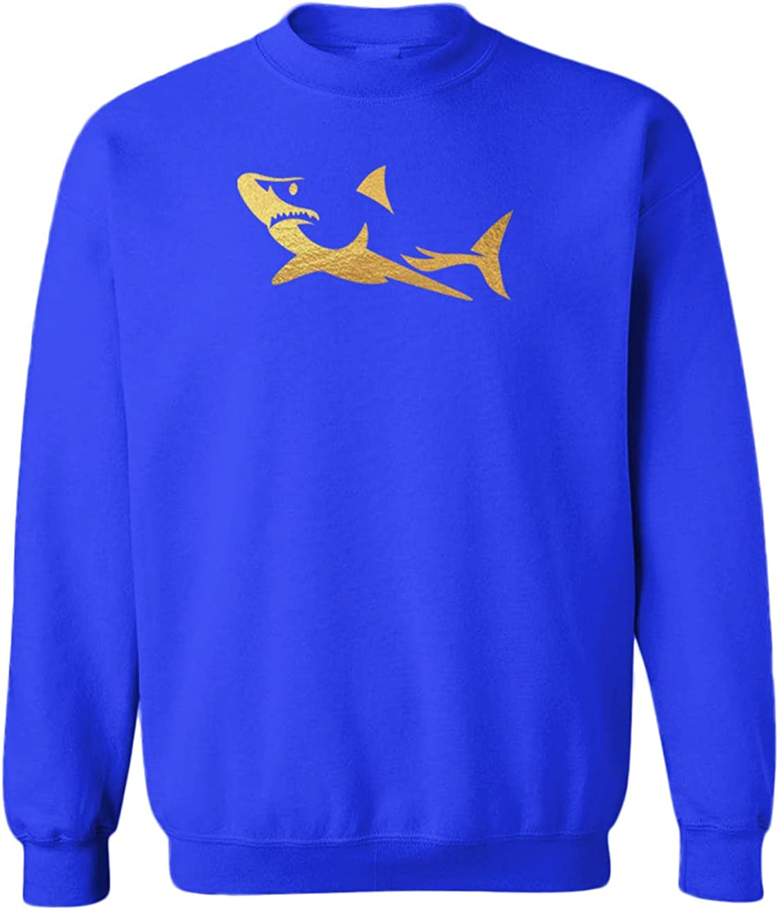 Gold Foil Shark Silhouette - Great White Youth Fleece Crewneck Sweater