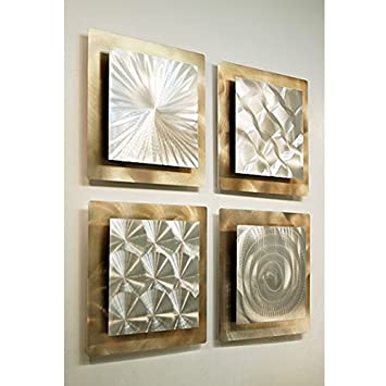 Gold U0026 Silver Contemporary Metal Wall Art   Set Of 4 Panel Modern Home Décor    Part 78