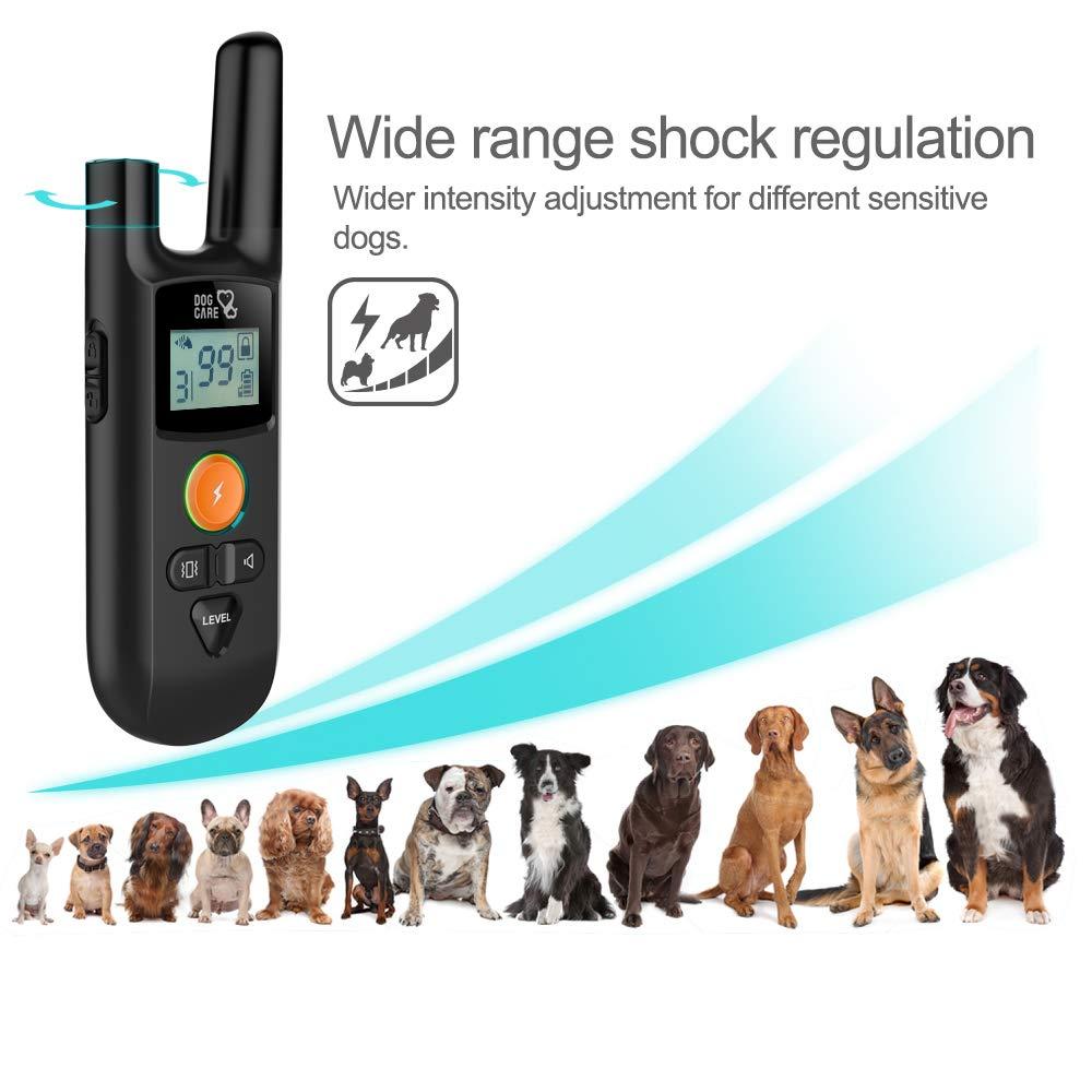Dog Training Collar - Enhanced Rechargeable Dog Shock Collar w/3 Training Modes, Beep, Vibration and Shock, Waterproof Training Collar, Up to 1000Ft Remote Range, 0~99 Shock Levels Dog Training Set by DOG CARE (Image #8)
