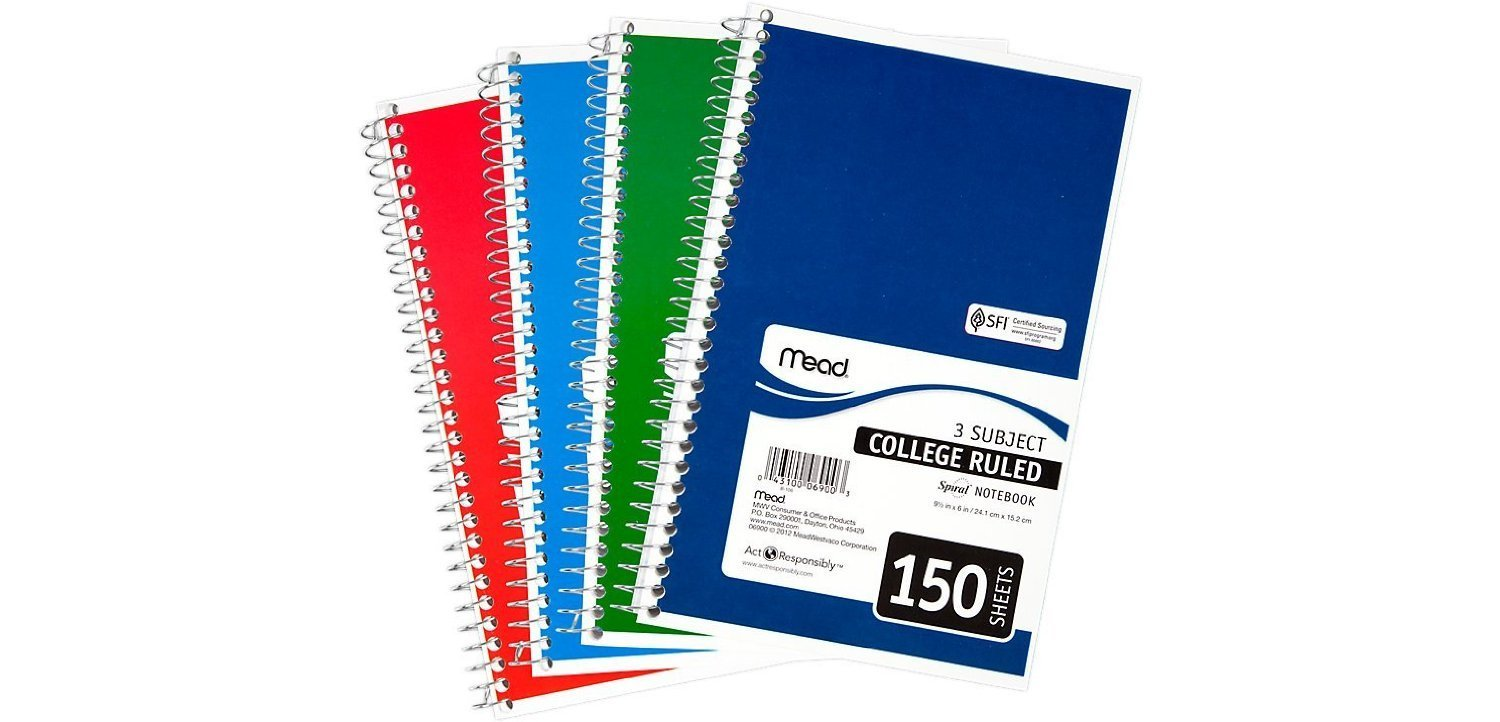 "Mead 3-Subject Wirebound College Ruled Notebook, 9.5"" x 5.5"", Pack Of 6"