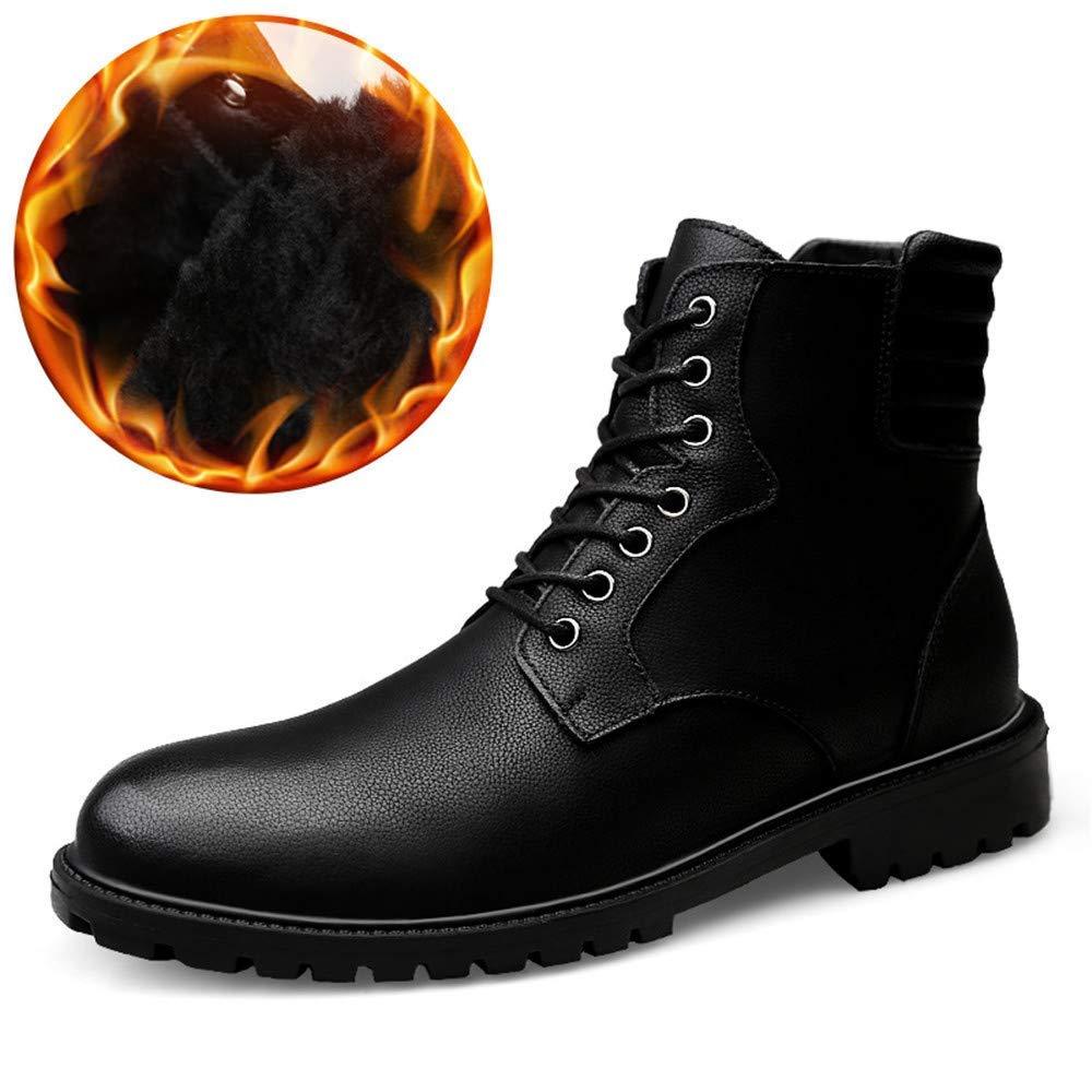 Herrenmode Stiefeletten, Casual British Style Einfache Anti-Rutsch-Laufsohle Schnürung Martin Stiefel (Warm Velvet Optional) (Farbe   Warm schwarz, Größe   45 EU)