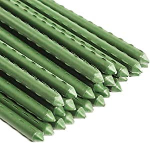 BEAMNOVA 25 Pcs 0.9m(3Ft) Garden Stakes for Plants Tomato Green Metal Plastic Fence Post Outdoor Indoor