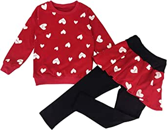 Conjunto de ropa para niñas con estampado de corazones, manga larga, camiseta y falda, pantalones de 2 a 8 años