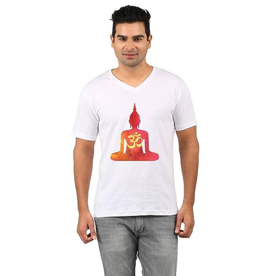 8dccdb9db9c839 Rawpockets T-Shirt ' Silhouette Buddha ' - White Colour (100%  Cotton,Digital Printed, V-Neck T-Shirts): Amazon.in: Clothing & Accessories