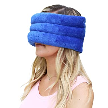Huggaroo Microwavable Wrap with Herbal Aromatherapy   Weighted Eye Mask/Face Mask   Migraine Relief, Sinus Relief, Stress Relief, Anxiety Relief, Headache Relief, TMJ Relief   Microwave Heating Pad